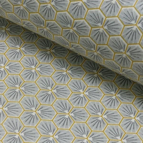 Laminat/Wachstuch, Blumenwaben grau/senf