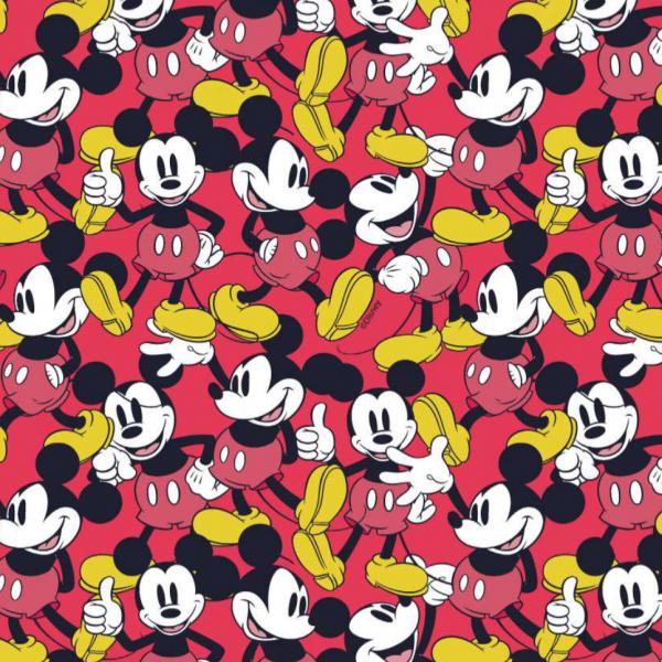 Mickey Mouse rot/gelb/schwarz, Baumwoll-Popeline