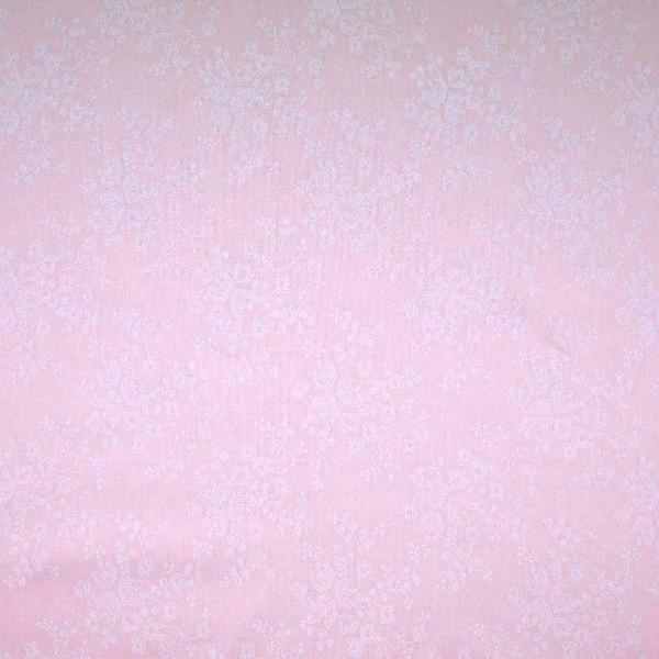 Blümchenranke auf rosa, Baumwoll-Batist