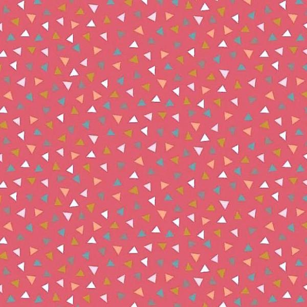 Baumwollpopeline, bunte Dreieckchen rot, waschbar bei 60°