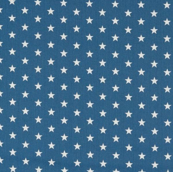 Lili Small Star weiß auf indigo, Webstoff, waschbar bei 60°