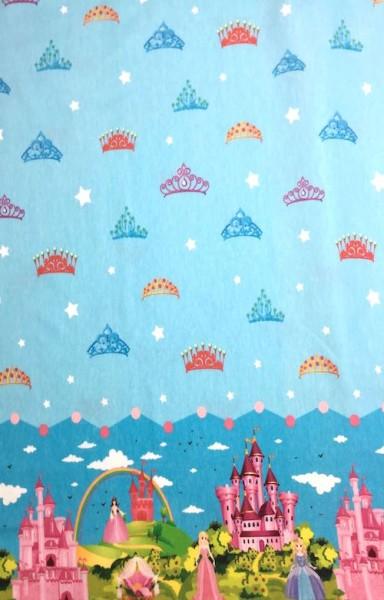 Prinzessin im Schloss auf blau, Jersey, *Letztes Stück ca.100 cm*