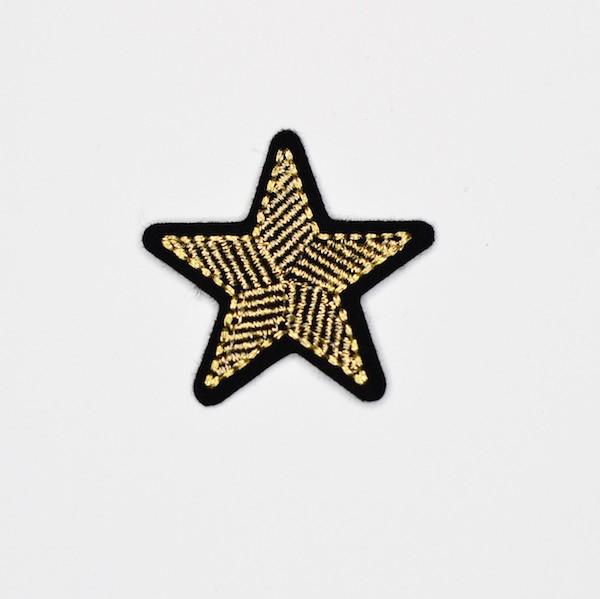 Applikation Stern, gold-schwarz