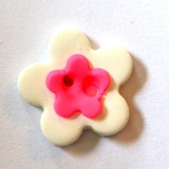Blume, mini, weiß-pink, Fimoknopf *SALE*