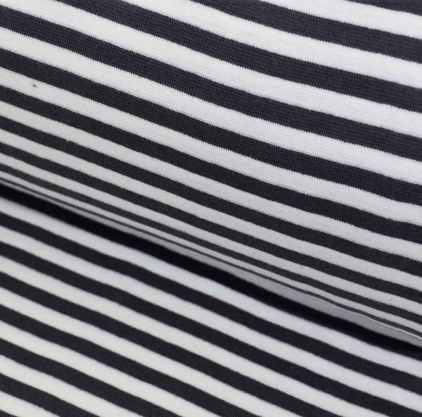 Bündchen breit gestreift dunkelgrau-weiß