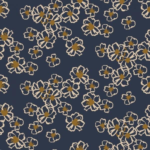 Viskose-Webstoff Blumenmeer auf dunkelblau