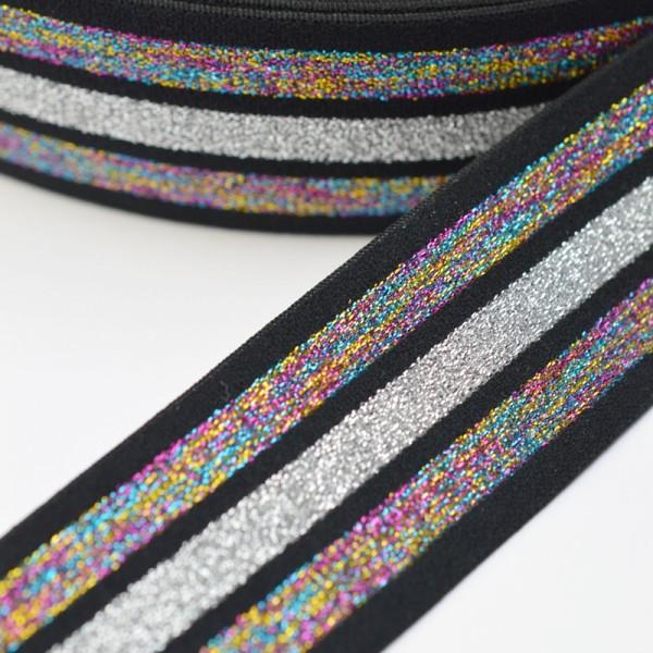 Gummiband breit, Streifen Lurex-irisierend