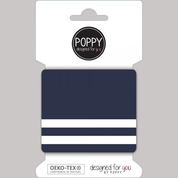 Poppy, Strickbündchen Stripes, dunkelblau-weiß, 135 cm
