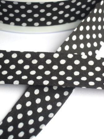 Schrägband, gepunktet, weiß auf schwarz