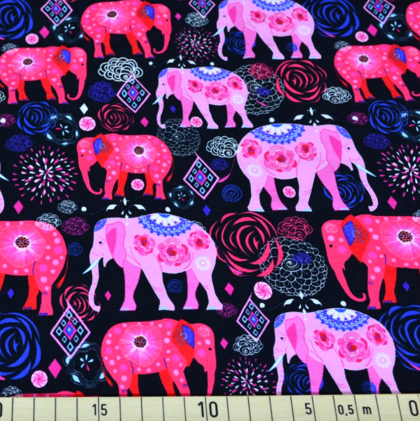Elefanten pink/schwarz, Sweat
