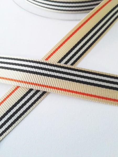 Streifen beige-schwarz-rot, Ripsband