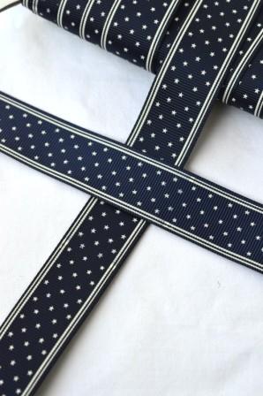 Sterne, dunkelblau, Ripsband breit