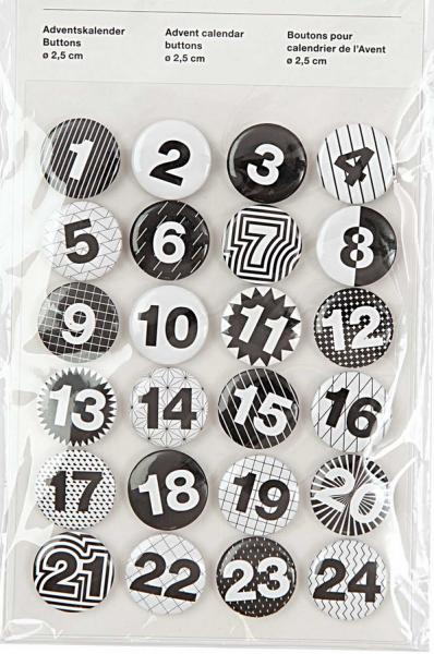 Adventskalender Buttons, schwarz-weiß