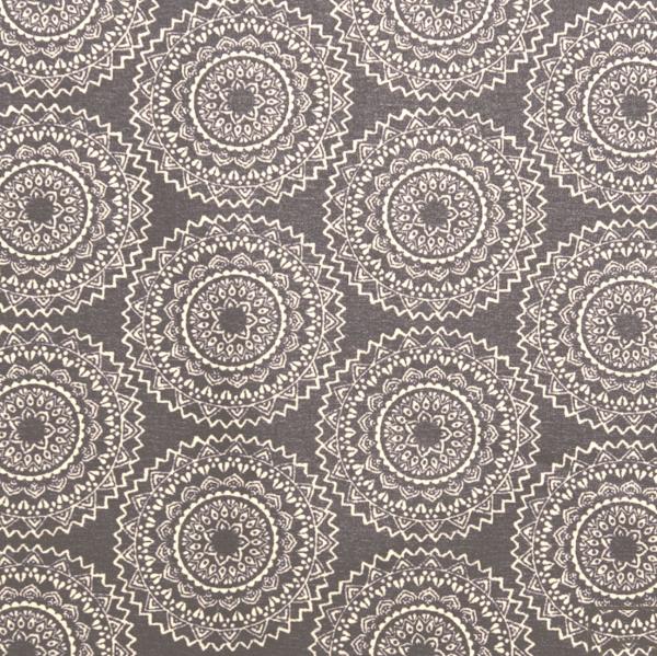 Laminat/Wachstuch, Große Mandalablumen grau