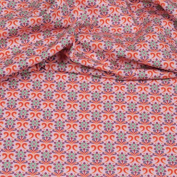 Hilco Hilde Blumenranken hellrosa/orange, Popeline