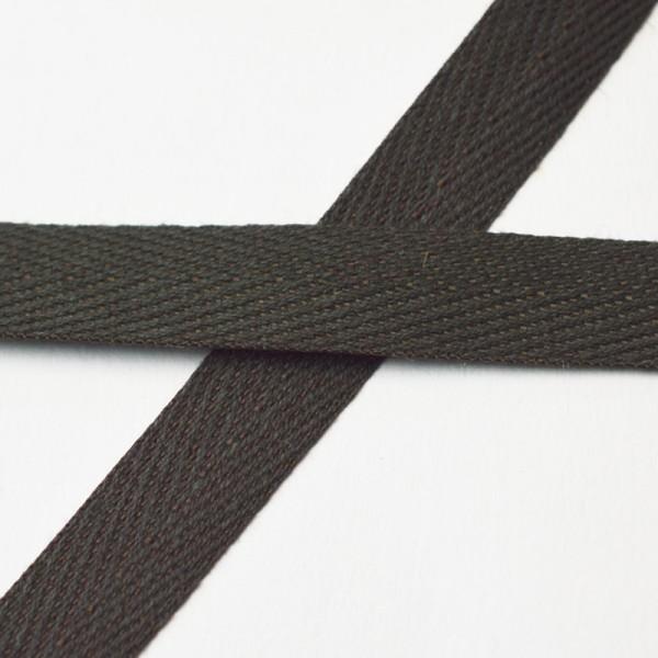 Köperband, 10 mm, schwarzbraun