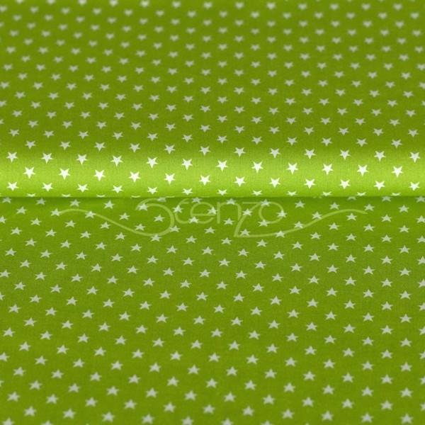 Stenzo Mini-Sterne weiß auf hellgrün, Popeline
