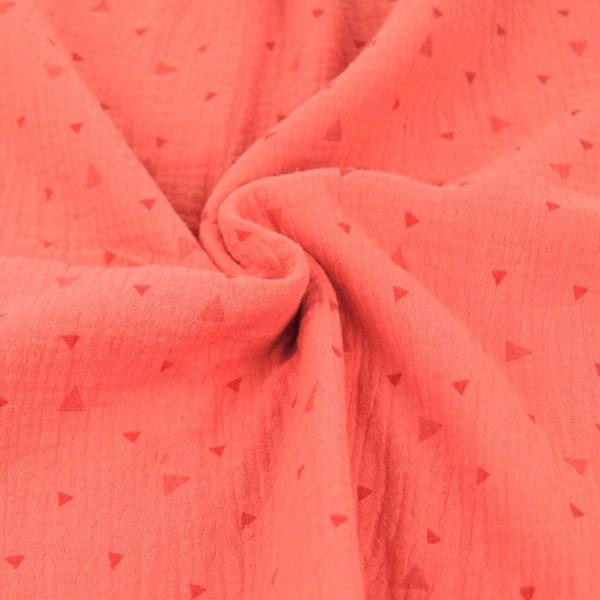 Double Gauze/Musselin, Triangles koralle, *Letztes Stück ca. 100 cm*