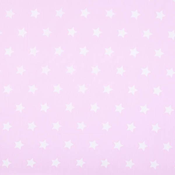 Stenzo große Sterne weiß auf rosa, Popeline