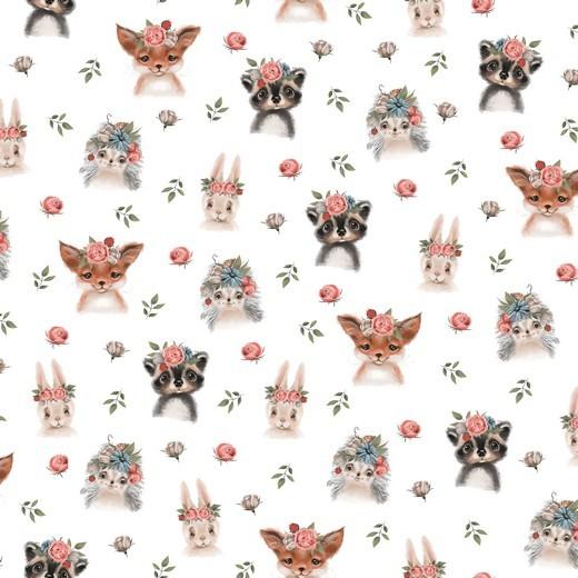 Flower Animals weiß, Bio-Jersey