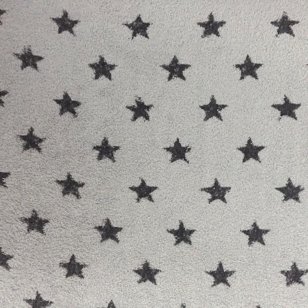Frottee, grau mit großen dunkelgrauen Sternen