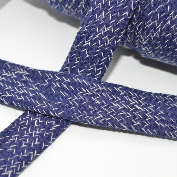 flache Kordel, 15 mm, dunkelblau meliert