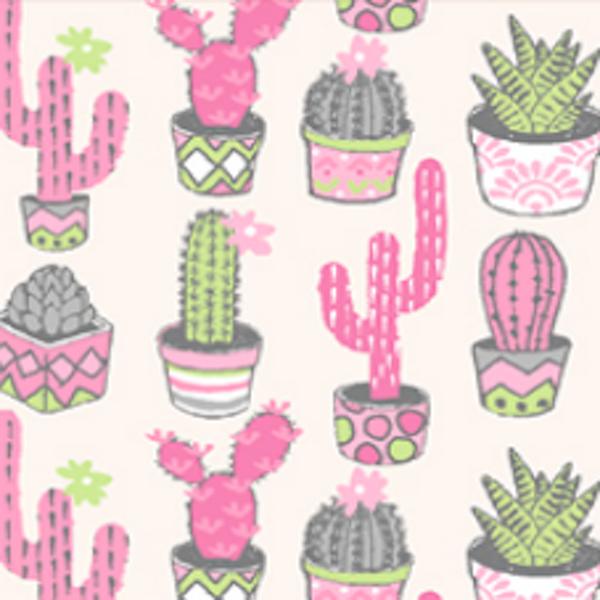 Kaktus rosa auf offwhite, Baumwollstoff