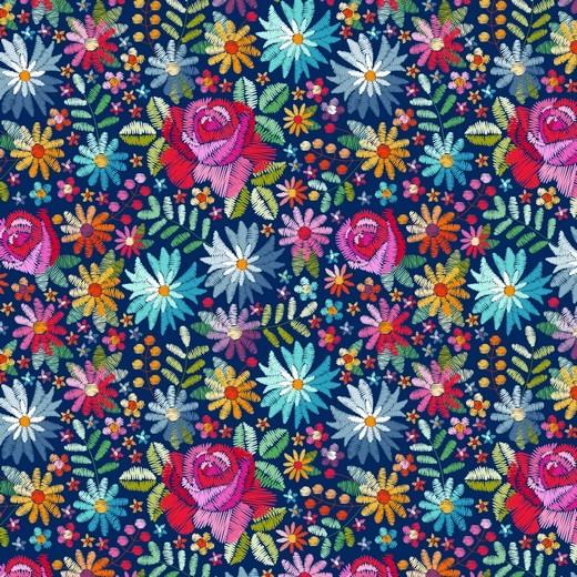 """Digitaldruck """"Gestickte Blumen"""" dunkelblau, Baumwolllstoff, waschbar bei 60°"""