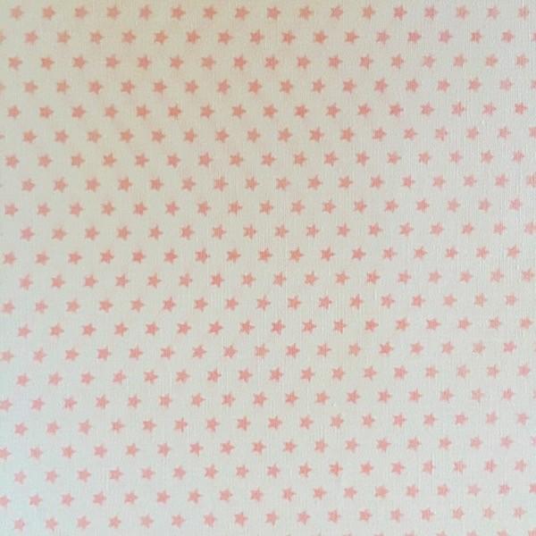 Lili Mini Stars, hellrosa auf weiß, Webstoff