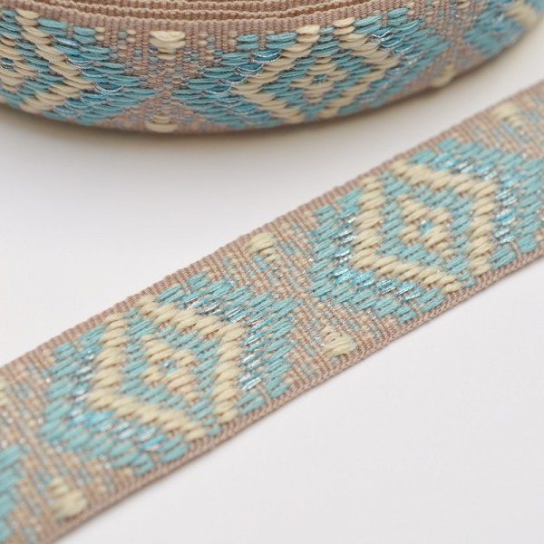 Rhombus, beige-hellblau, Webband