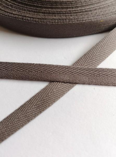 Köperband, 10 mm, taupe