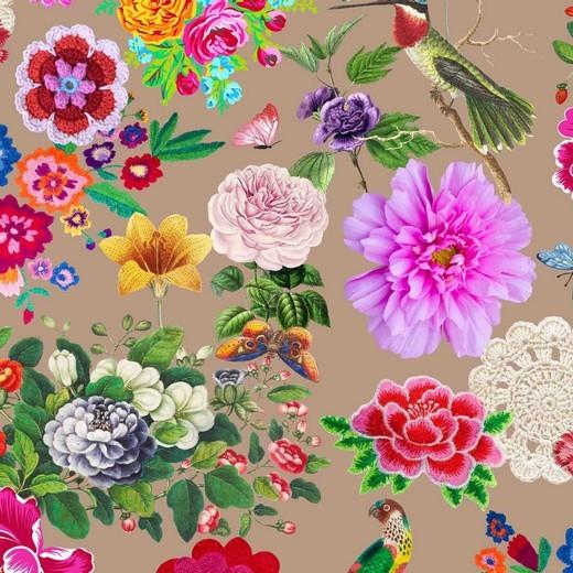 Digital Kolibri&Flowers taupe, Bio-Jersey