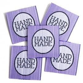 Hand made, lila, Webetikett