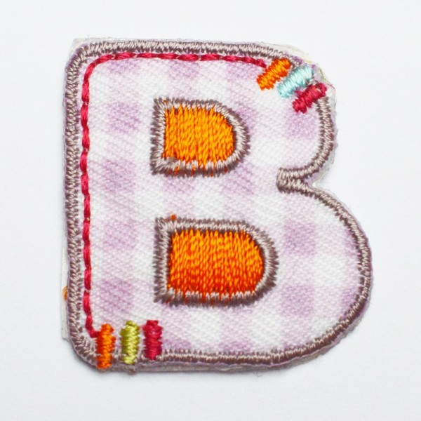 Applikation Buchstabe B, bunt bestickt