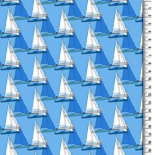 Viskosewebstoff Segelschiffe blau