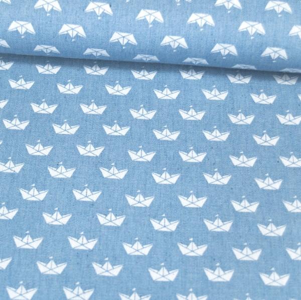 Hilco Sommerjeans Papierschiffchen weiß auf hellblau
