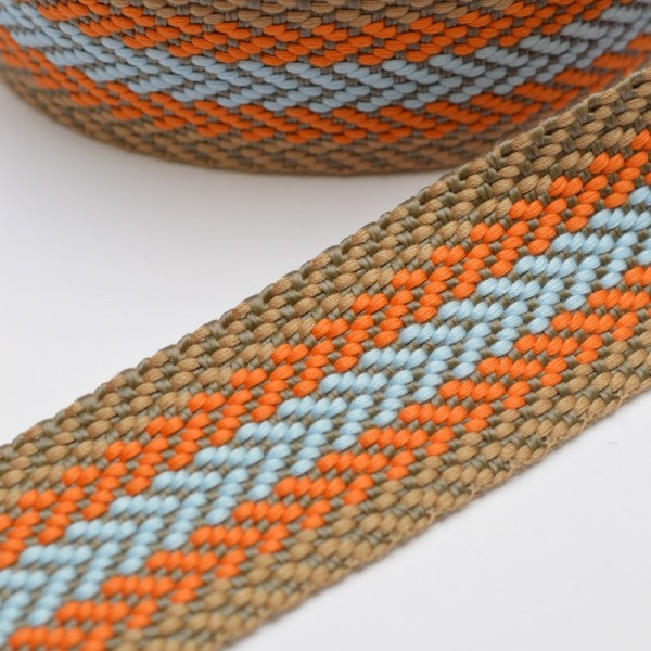 Gurtband, Herringbone,beige-orange-hellblau
