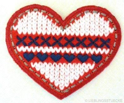 Applikation Herz, gestrickt, rot