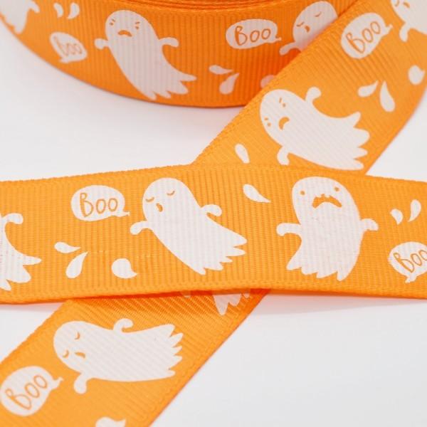 Ripsband, Halloween Gespenster, orange