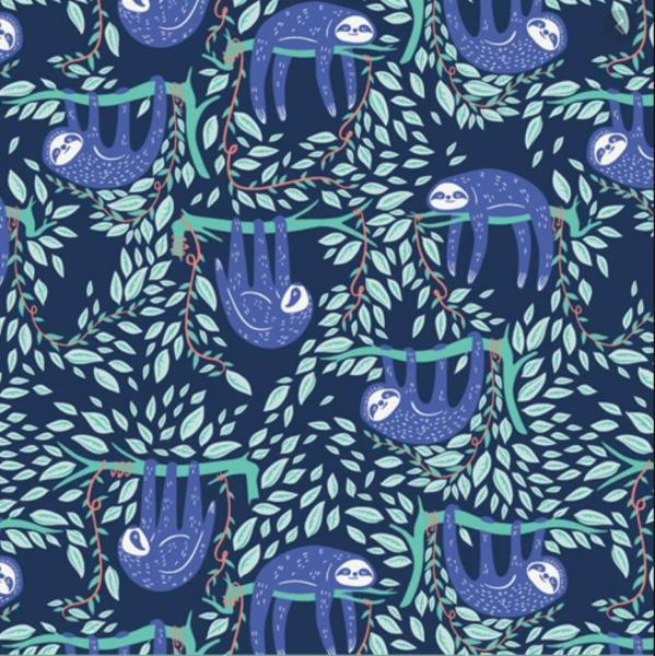 Selva, Faultiere dunkelblau, Baumwollstoff