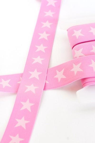 Gummiband breit, Sterne rosa-rosé