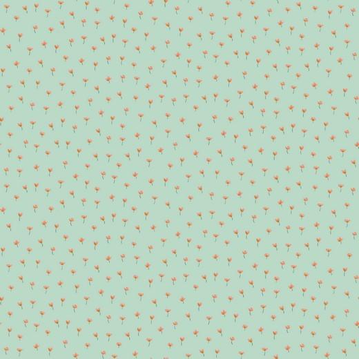 BIO-Baumwolllstoff, Kleine Blümchen mint, waschbar bei 60°