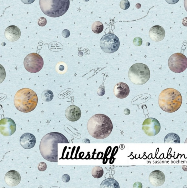 lillestoff, Beautiful Planet blaugrau-meliert, Bio-Jersey