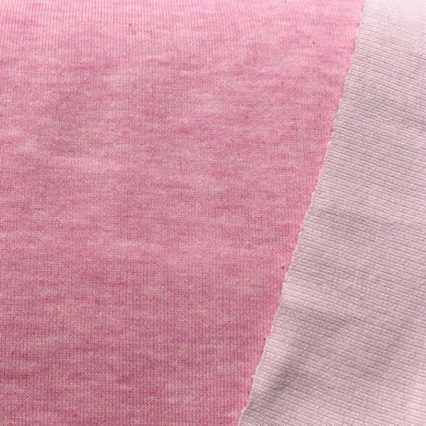 Tender Kiss, Bio-Doubleface Strickstoff rosa-meliert/weiß, *Letztes Stück ca. 120 cm*