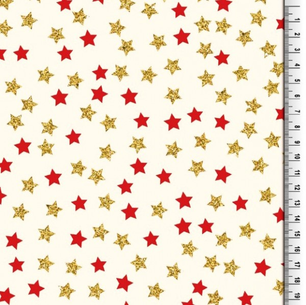 Xmas, Sternchen gold und rot auf offwhite, Baumwollstoff