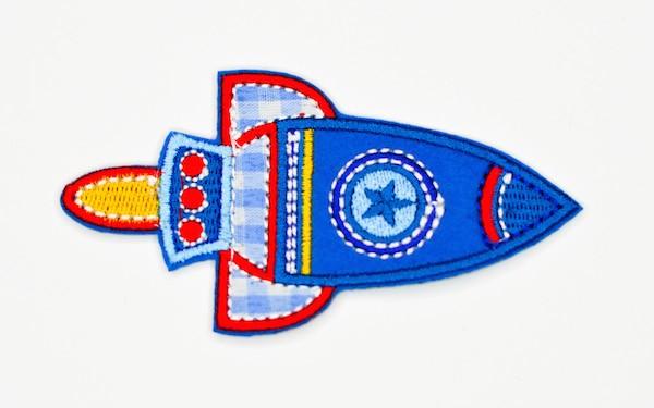Applikation Rakete, blau, groß