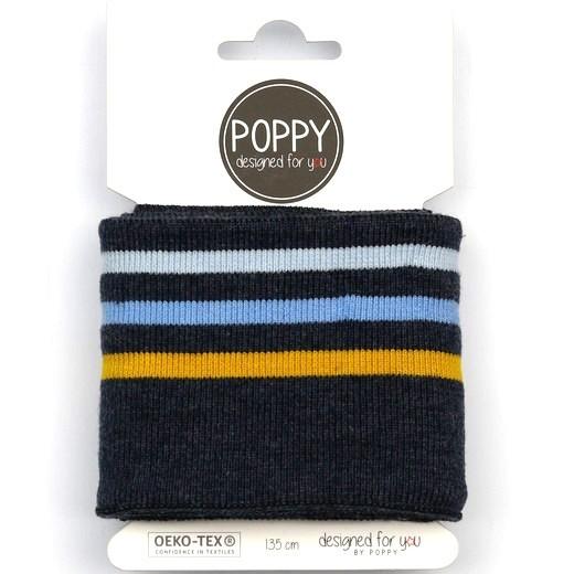 Poppy, Strickbündchen Stripes,dunkelblau-meliert-senf-hellblau, 135 cm
