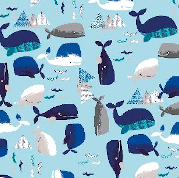 Wally the Whale, hellblau, Baumwollstoff, waschbar bei 60°