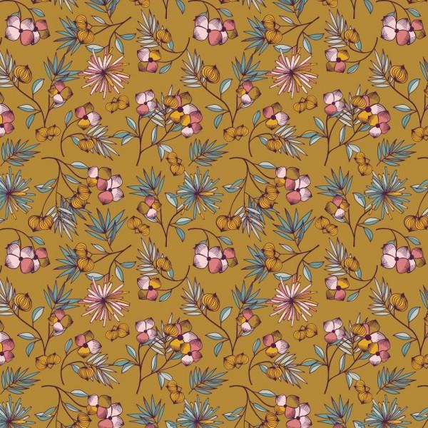 Tencel-Modal-Jersey, Winterblümchen auf senf
