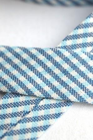 Westfalen Schrägband, karo dunkelblau-hellblau-weiß